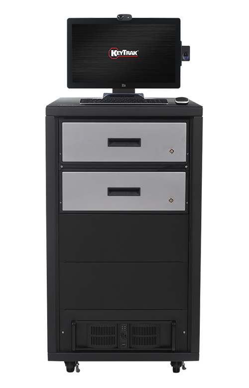 KeyTrak non-auto 2 short drawer cabinet system with touch monitor