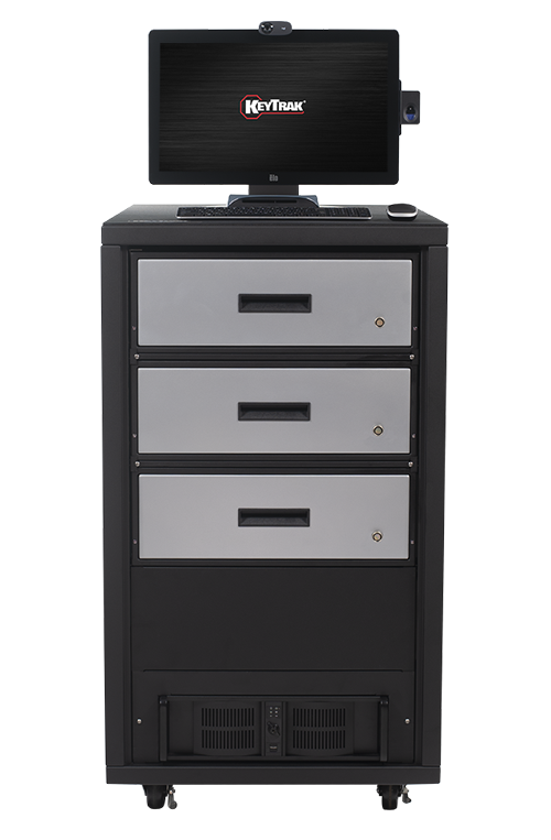 KeyTrak non-auto 3 short drawer cabinet system with touch monitor