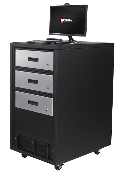 KeyTrak non-auto 3 short drawer cabinet system with standard monitor